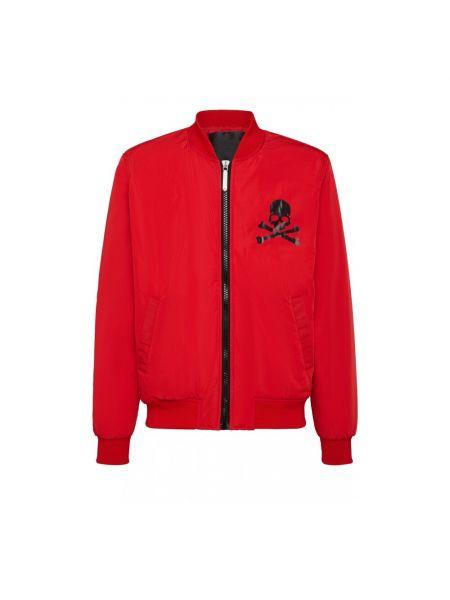 Czerwona długa kurtka z długimi rękawami Philipp Plein