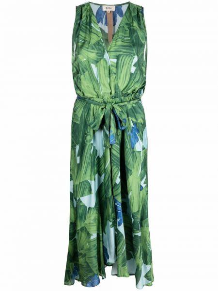 Шелковое платье миди - зеленое Diega