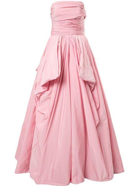 Шелковое розовое вечернее платье с открытыми плечами Zuhair Murad