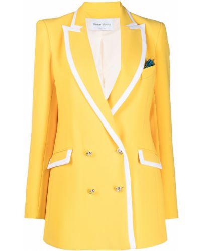 Желтый пиджак двубортный с карманами Hebe Studio