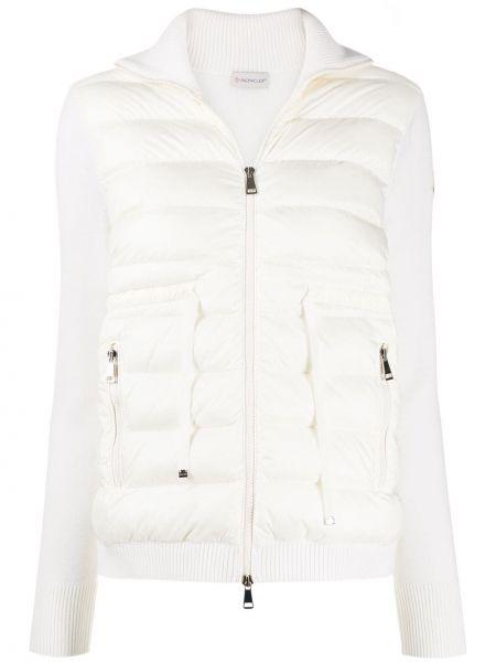 Белая дутая куртка на молнии со вставками с воротником Moncler