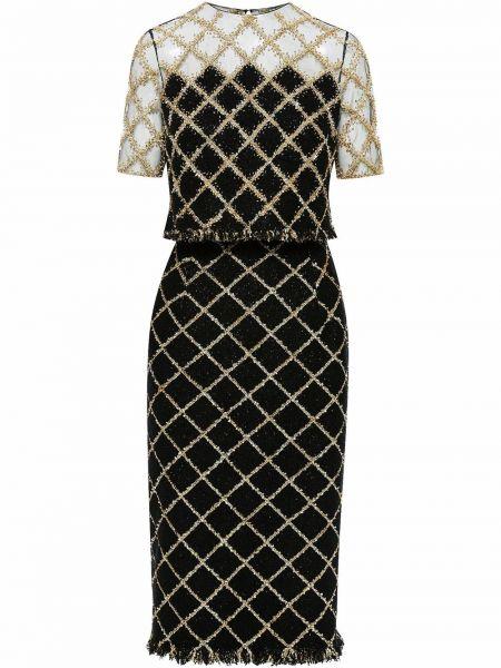 Платье мини короткое - черное Oscar De La Renta