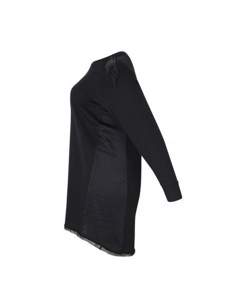 Черное платье миди оверсайз со вставками с длинными рукавами Mat Fashion