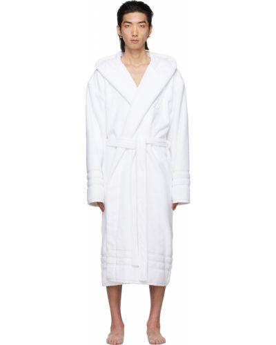 Biały długi szlafrok bawełniany z kapturem Balenciaga
