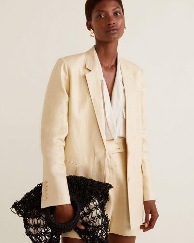 Классический пиджак в клетку с поясом в стиле кэжуал Mango
