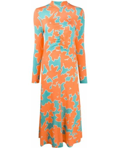 Оранжевое платье с воротником эластичное из вискозы Stine Goya