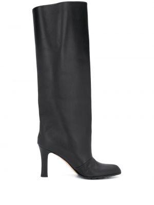 Черные кожаные сапоги на каблуке Manolo Blahnik