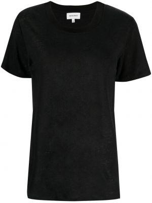 Хлопковая черная футболка с вырезом Woolrich