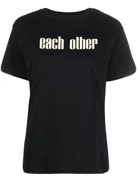 Czarny t-shirt bawełniany krótki rękaw Each X Other