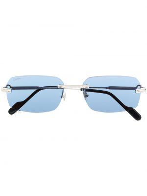 Синие солнцезащитные очки квадратные металлические Cartier Eyewear