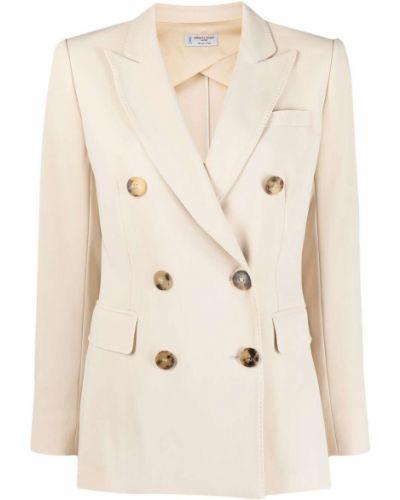 Бежевый удлиненный пиджак двубортный с карманами Alberto Biani