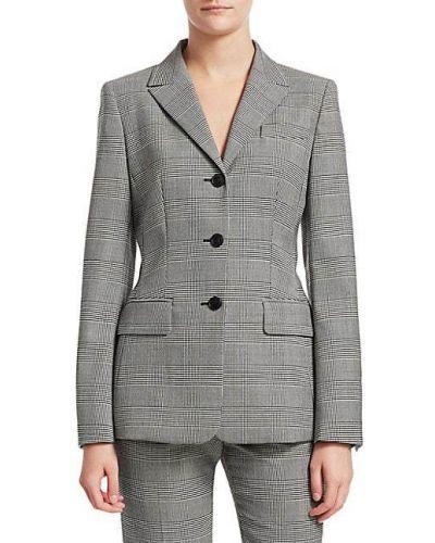 Черный удлиненный пиджак в клетку с карманами Escada