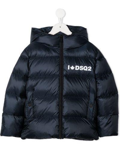 Синее пуховое пальто классическое с капюшоном Dsquared2 Kids