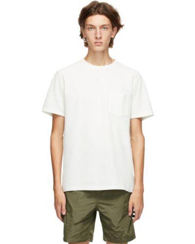 Biały bawełna koszula krótkie z krótkim rękawem z kieszeniami z łatami Norse Projects