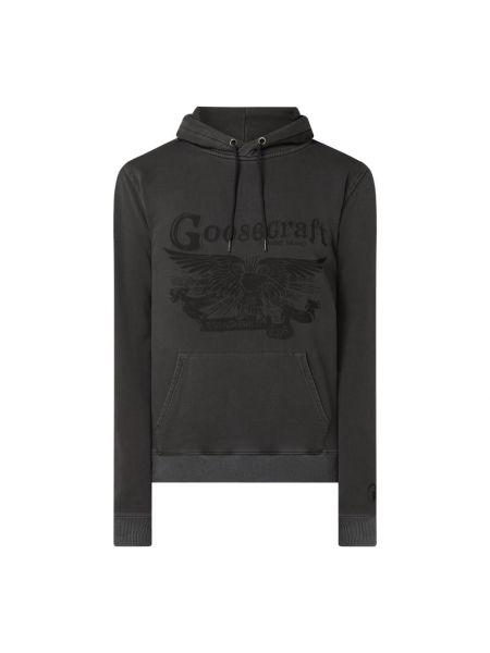 Czarna bluza z kapturem bawełniana Goosecraft