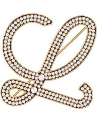 Jedwab broszka z perłami złoto z klapami Loewe