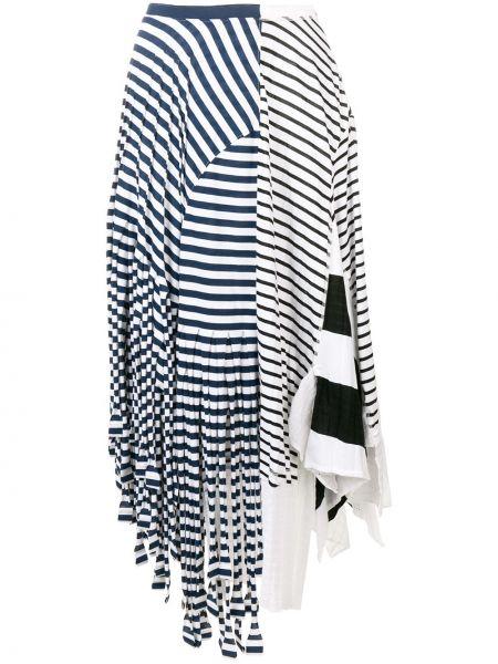 Синяя асимметричная юбка миди в рубчик на молнии Loewe