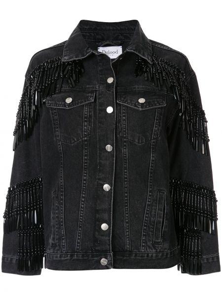 Хлопковая черная джинсовая куртка с бахромой Dalood