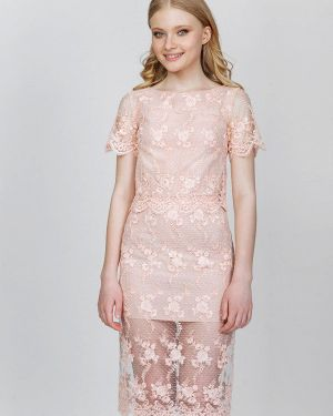 Костюмный розовый вязаный юбочный костюм Fors