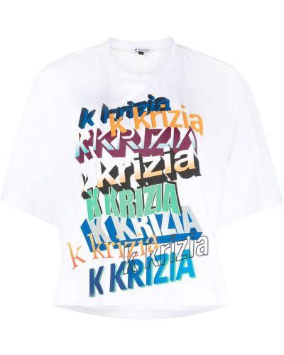 Хлопковая белая футболка с вырезом Krizia