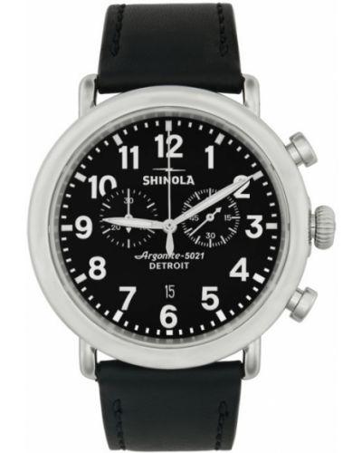 Czarny zegarek na skórzanym pasku skórzany kwarc Shinola