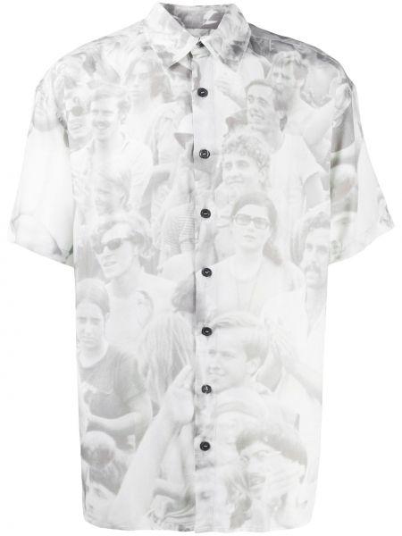 Biała koszula krótki rękaw z wiskozy Limitato