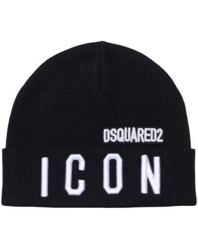 Wełniany czarny kapelusz z haftem Dsquared2