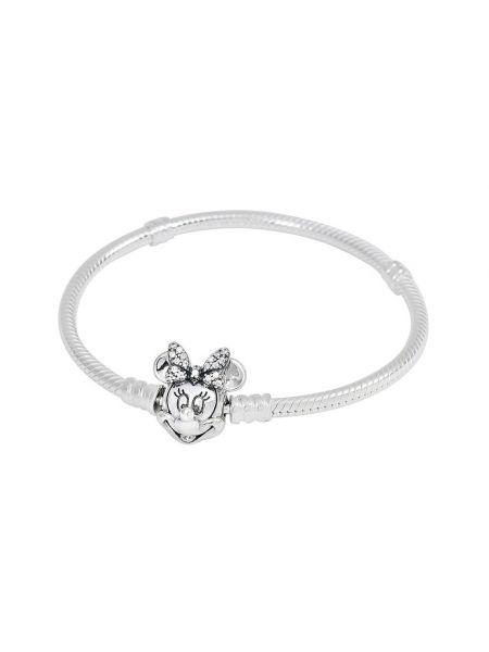 Микки маус серебряный браслет с камнями Pandora