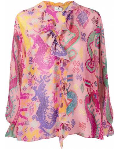 Розовая шелковая рубашка круглая Etro