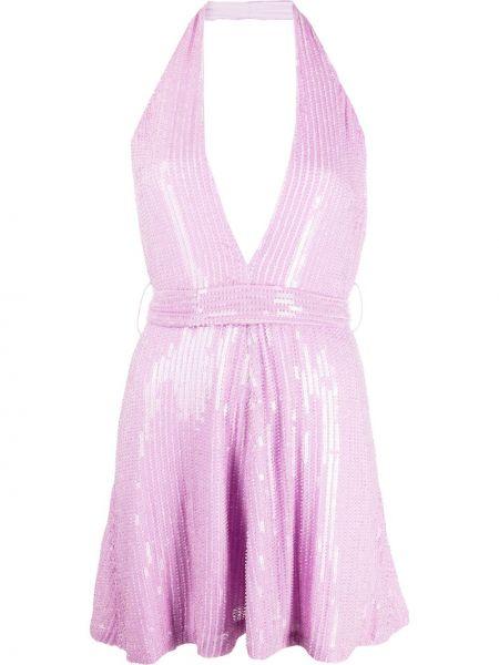Фиолетовое платье мини на бретелях без рукавов с воротом халтер Misha Collection