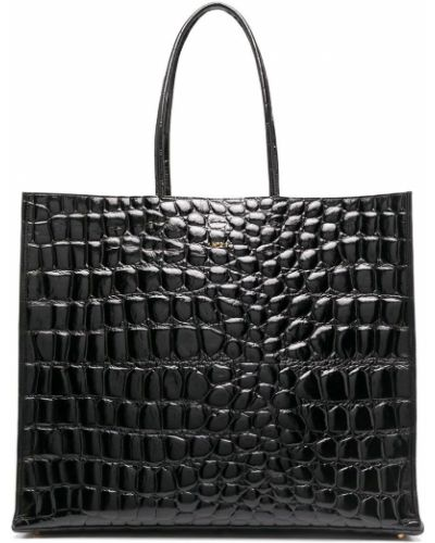 Skórzany czarny torba na ramię wytłoczony N°21