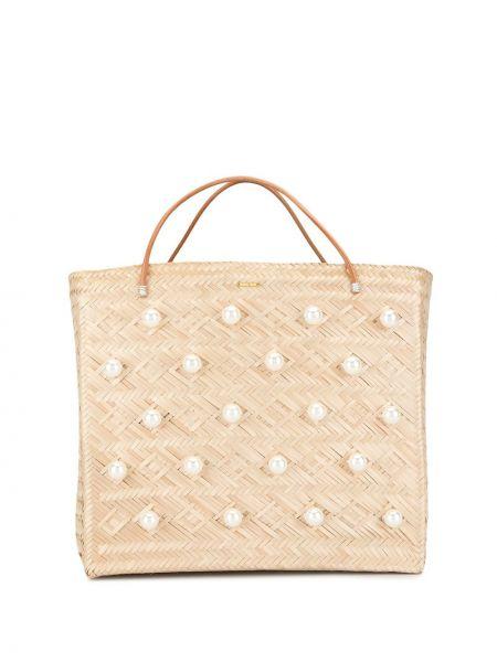 Złota brązowa torba na ramię perły Mercedes Salazar