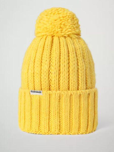 Желтая теплая шапка с помпоном Napapijri