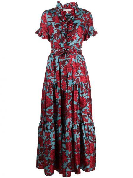Шелковое с рукавами красное платье мини La Doublej