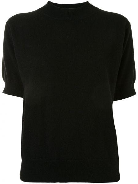 Кашемировая прямая черная футболка с круглым вырезом Sofie D'hoore