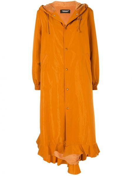 Оранжевое длинное пальто оверсайз с капюшоном Undercover