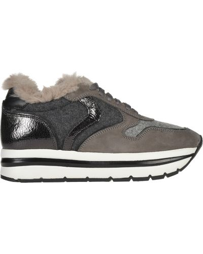 Кроссовки на платформе замшевые серые Voile Blanche
