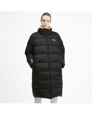 Свободная черная утепленная куртка на молнии с надписью Puma