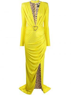 Облегающее желтое платье макси с вырезом Philipp Plein