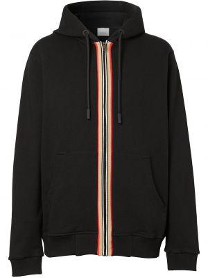 Bawełna czarny bluza z kapturem z kapturem z paskami Burberry