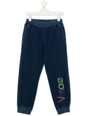 Niebieskie spodnie bawełniane z haftem Young Versace