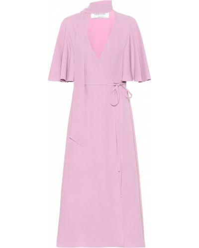 Платье миди с мехом шелковое Valentino