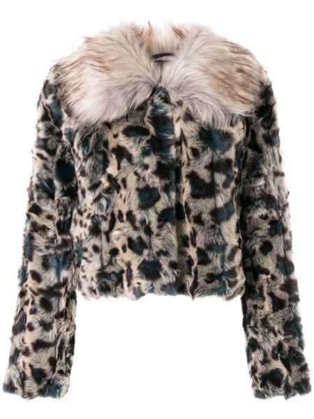 Серая короткая куртка из искусственного меха с воротником Unreal Fur