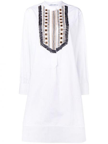 Прямое с рукавами белое платье макси Alberta Ferretti