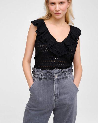 Ażurowy czarny t-shirt bez rękawów Orsay