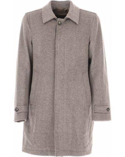 Akryl zimowy płaszcz z kieszeniami na przyciskach z mankietami Herno
