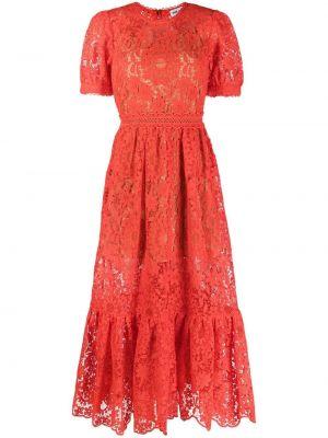 Красное кружевное платье миди с короткими рукавами Self-portrait