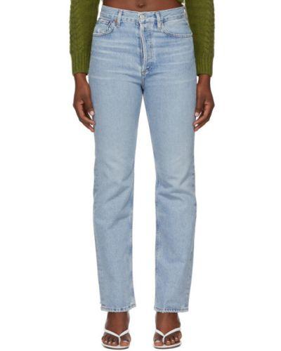 Prosto srebro jeansy o prostym kroju z kieszeniami zabytkowe Agolde