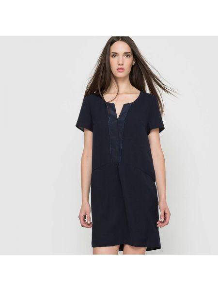 Темно-синее плиссированное платье мини со складками с вырезом Sud Express