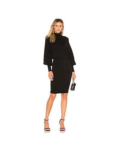 С рукавами нейлоновое черное платье миди L'academie